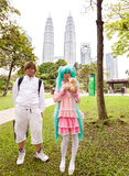 Young participants of the 2014 Comic Fiesta in front of Kuala Lumpur Convention Centre. Stock Photo