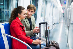 Young passengers in subway car Royalty Free Stock Photos