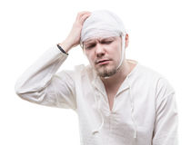 Young patient with head pain. On white background Royalty Free Stock Images