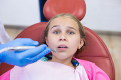 Young patient scared during a dental check-up Royalty Free Stock Image