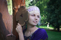 Young peaceful woman. Hippie Royalty Free Stock Photo