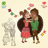 Young peasants in love - Brazilian june party style Stock Images