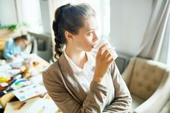 Woman with drink Royalty Free Stock Images