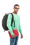 Young pensive student carrying bag. Royalty Free Stock Images