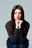 Young pensive woman with closed eyes Royalty Free Stock Photos