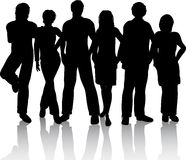 Young people. Silhouettes of a group of young people Royalty Free Stock Photography