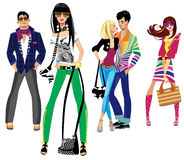 Young people. Colorful illustration of  fashion young people Stock Image
