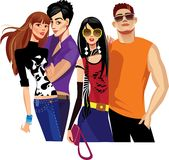 Young people. Colorful illustration of  portrait young people Stock Images