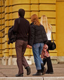 Young People. Friends in front of Croatian National Theatre, Zagreb, Croatia Royalty Free Stock Images