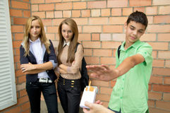 Young people against smoking Royalty Free Stock Photo
