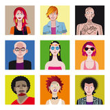 Young People Avatar Set Stock Images