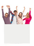 Young people with a banner Royalty Free Stock Photography