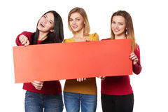 Young people with banner Royalty Free Stock Photography