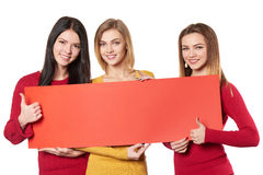 Young people with banner Royalty Free Stock Image