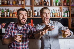Young people with beer watching football in a bar Stock Image
