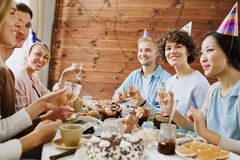 Cheers of friends Stock Images