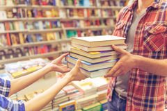 Young people at the book shop Stock Photography