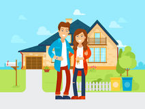 Young people bought the new house vector flat illustration. Happy family is moving into new home. Cartoon characters of stock illustration
