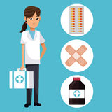 Young people with box first aid and icon medical. Vector illustration Royalty Free Stock Images