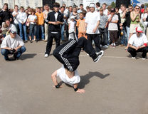 Young people break dancing on. Street festival break-dance. 2007, Minsk, Belarus Stock Image