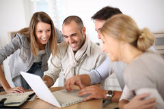 Young people in business class training. Group of young people in business meeting royalty free stock photo