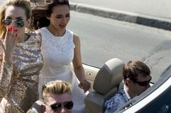 Young people In a cabriolet. RUSSIA royalty free stock photos