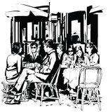 Young people at a cafe terrace after work. Vector-illustration Stock Photography