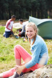 Young People On Camping Trip In Countryside Stock Image