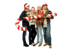 Young people with candy Royalty Free Stock Photos