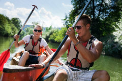 Young People Canoeing. On the neckar river in germany stock photos