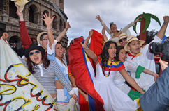 Young people during the carnival 2012 in rome Stock Image