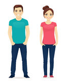 Young people in casual clothes Royalty Free Stock Photos