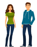 Young people in casual outfit Royalty Free Stock Photo