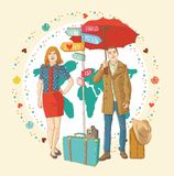 Young people in casual standing with travel bag, h Stock Images