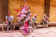 Young people celebrate Holi festival in India Stock Photo