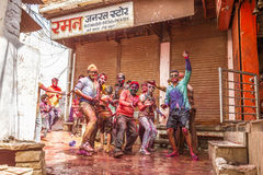 Young people celebrate Holi festival in India Stock Images