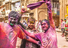 Young people celebrate Holi festival in India Royalty Free Stock Image