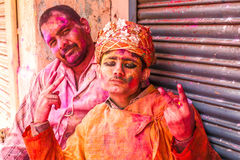 Young people celebrate Holi festival in India Royalty Free Stock Photo
