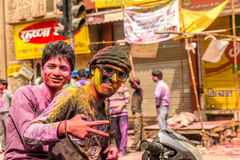 Young people celebrate Holi festival in India Royalty Free Stock Photos