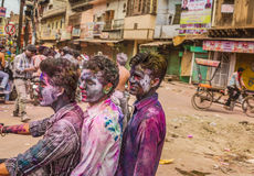 Young people celebrate Holi festival in New Delhi India Stock Image