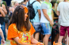 Young people are celebrating festival of colors, Gomel, Belarus Royalty Free Stock Photo