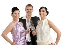 Young people with champagne Stock Photos
