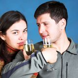 Young people with champagne glasses royalty free stock photos