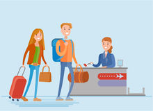 Young people are check in at the airport Stock Photos