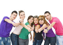 Young people cheering. Happy group of teenagers cheering Royalty Free Stock Photos
