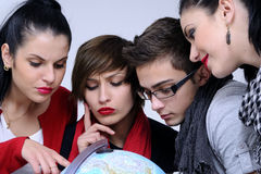 Young people choosing destinations Royalty Free Stock Images