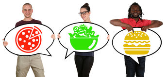 Young people choosing pizza, salad or hamburger fast food Royalty Free Stock Image