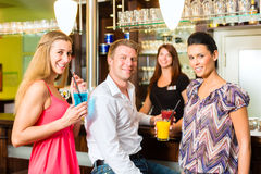 Young people with cocktails in bar Royalty Free Stock Photo