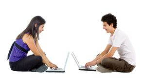 Young people with computers Stock Photos