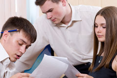 Young people with concentration work Stock Photo